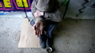 HD DOLLY: Homeless Person Holding An Open Palm