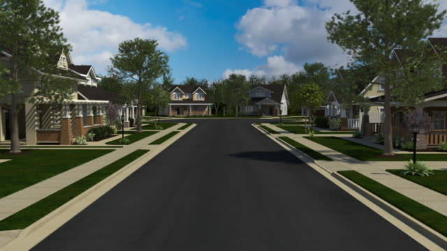 Homes Down A Neighborhood Street Stock Footage Video ...