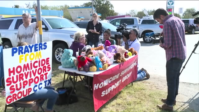 Homicide Support Group Leader from Corpus Christi drove to hand out stuffed animals and offer support near First Baptist Church in Sutherland Springs...