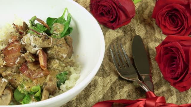 Honey Mustard Chicken Served on a Romantic Table with Roses