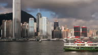 WS Hong Kong business district seen across Victoria Harbor with ferry boat in foreground/ China