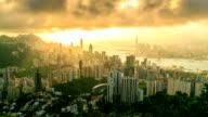 Hong Kong City With Golden Sunbeam