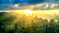 Hong Kong Stadt mit Sonnenstrahl