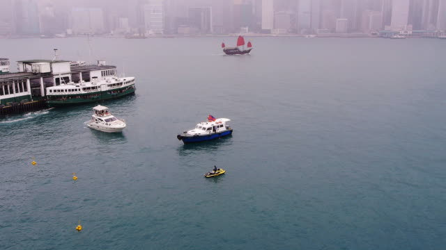 Hong Kong Harbor, Boats and Jetski - wide shot