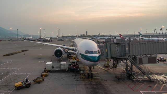 T/L WS Hong Kong International Airport Day to Night Transition / Hong Kong, China