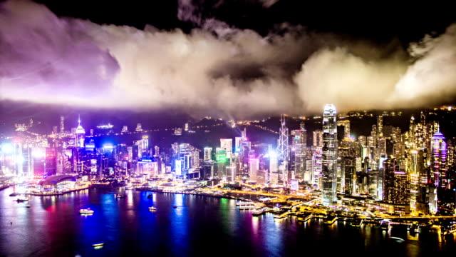 Hong Kong night bird view timelapse VETTA