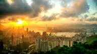 Stadtgebiet Hong Kong Stadt bei Sonnenuntergang