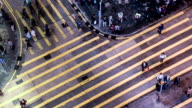 Hong Kong,China-Nov 14,2014: The bird view of the traffic and pedestrians in the downtown of Hong Kong,China