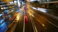 Hongkong street night driving , time lapse panning left 4k.