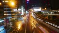 Hongkong street night driving,time lapse panning right 4k.