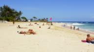 Honolulu Hawaii Oahu beach with tourists at Sandy Beach Park on South Oahu relax