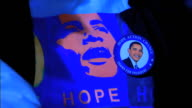 Hope Action ChangeObama for President campaign slogan w/ photo pinback button ZO MS Hope shirt w/ button PAN To button on Hope shirt