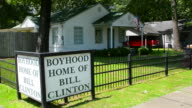 Hope Arkansas boyhood home of President Bill Clinton sign to commemorate his hometown 13th Street