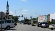 Hope Arkansas boyhood home of President Bill Clinton traffic on Main Street in his hometown
