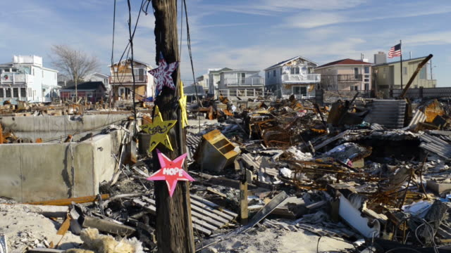Hope signs nailed to burnt tree with american flag and various destroyed homes in background