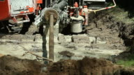 Horizontal Drilling Rig Pulling Water Main
