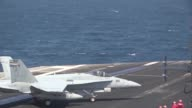 Hornets and EA6B Prowlers launch from the aircraft carrier USS George HW Bush supporting strike surveillance and reconnaissance missions over Iraq...