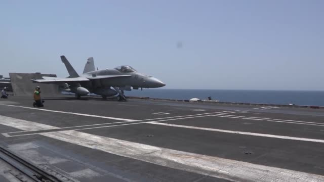 Hornets and Super Hornets launch from catapults aboard USS George HW Bush Bush is operating in the Arabian Gulf on a scheduled deployment to US 5th...