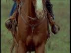 Horse and rider gallop towards camera, Montana