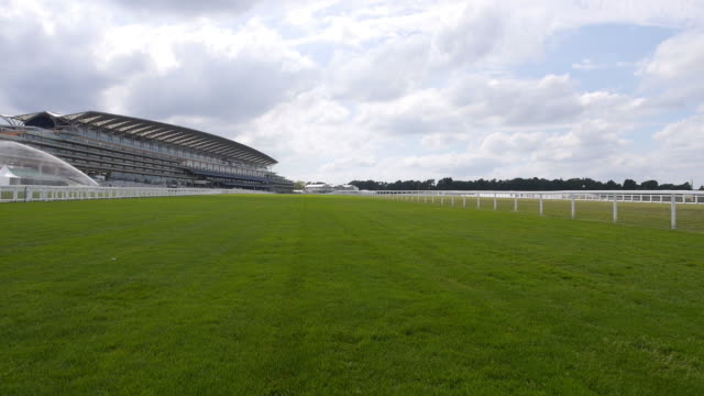 Horse eye view of the grandstand straight at Ascot Racecourse Captured by a licensed UAV operator with PFAW