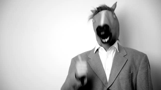 Horse head mask. Black and white