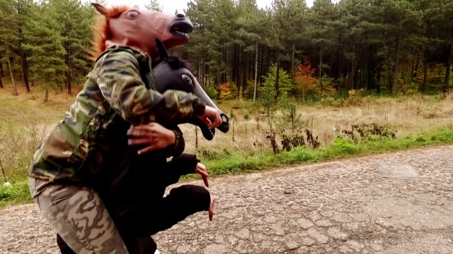 Horse head mask. Slow motion