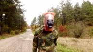Horse head mask. Slow motion.
