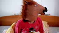 Horse head mask.