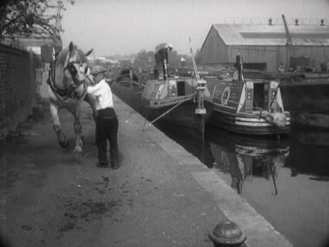 A horse pulls a barge into a canal berth