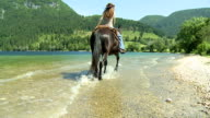HD SLOW-MOTION: Horseback riding in the lake