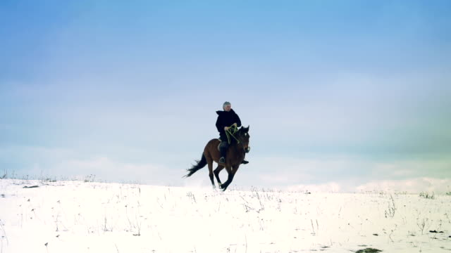 horseman in winter scenery
