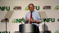 Farmers' leaders blame supermarkets for putting price pressure on suppliers ENGLAND West Midlands Birmingham INT Peter Kendall speaking at NFU...