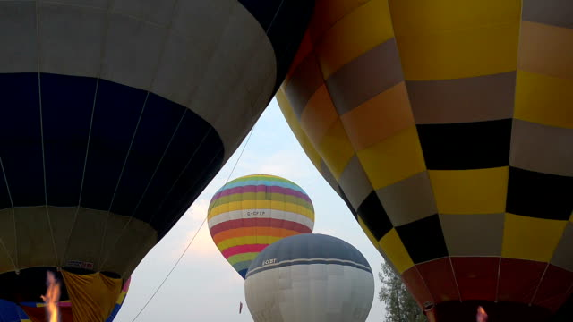 Hot air balloons in blue sky