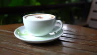 hot coffee cup in cafe