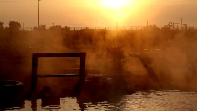 hot spring at sunrise, Genichesk, Ukraine