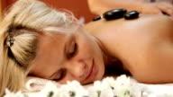 Hot stone massage in spa