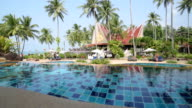 Hotel and swimming pool under palm trees