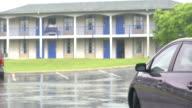 MS PAN Hotel car park in rain, Eastville, Virginia, USA