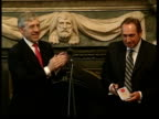 Houllier and Wenger awarded OBE's NEWS AT TEN U'LAY London Foreign Office INT CMS Foreign Secretary Jack Straw MP presenting OBE to Liverpool Manager...