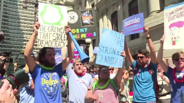 Hours before the official start of the Democratic National Convention in Philadelphia Bernie Sanders supporters hold a protest outside of...
