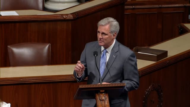 House Majority Leader Kevin McCarthy of Texas participates in debate on the Tax Cuts and Jobs Act addressing the people who would watch or hear the...