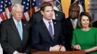 House Minority Leader Nancy Pelosi is joined by members of the caucus in the House studio for a press briefing minutes after Republicans pulled a...