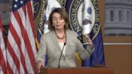 House Minority Leader Nancy Pelosi of California answers a question about the first overseas trip by President Donald Trump telling reporters that on...
