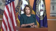House Minority Leader Nancy Pelosi of California answers questions from reporters at a weekly briefing while the House was in recess for Rosh...