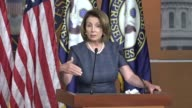 House Minority Leader Nancy Pelosi of California begins a regular press briefing after the annual August break to tell reporters that she and Senator...