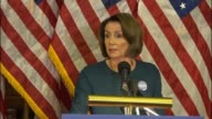 House Minority Leader Nancy Pelosi of California is asked at a weekly briefing about a draft executive order from the Trump administration regarding...