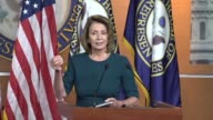 House Minority Leader Nancy Pelosi of California is asked by a reporter at a weekly press briefing about extending by three months government funding...
