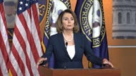 House Minority Leader Nancy Pelosi of California opens a press briefing calling the first five months of the Trump presidency a failure that forms of...