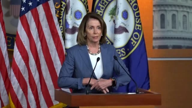 House Minority Leader Nancy Pelosi of California opens a regular press briefing by calling it a sad time in California with wildfires as mother...