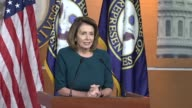 House Minority Leader Nancy Pelosi of California opens a regular weekly press briefing telling reporters that everyone prays for those affected by...